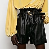 The Frankie Shop Paperbag Leather Cuffed Shorts