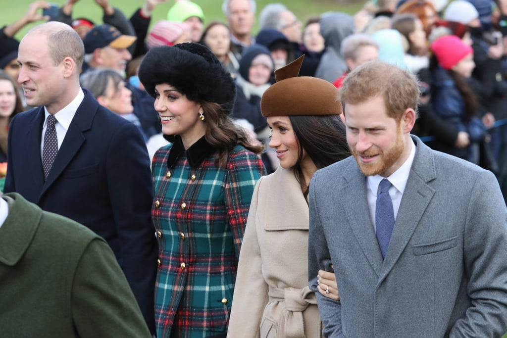 The British royal family has a number of festive traditions, one of which is attending a Christmas Day service at St Mary Magdalene church, a stone's throw from the Queen's home at Sandringham. Each year, the whole family (save for the Queen, who drives) walk to the church, giving us a glimpse of generations of our favourite royals. This year, many people were excited to see Prince Harry's fiancée, Meghan Markle, join the group, though it was her first appearance with Kate Middleton that had everyone talking. Alongside Meghan and the Duchess of Cambridge were Prince William and Prince Harry, in addition to Queen Elizabeth, Prince Phillip, Prince Charles, Camilla, and more. It looks like Prince George and Princess Charlotte stayed home this year, with the Prince saving his now-famous facial expressions for the royal family's traditional Christmas dinner. See all the photos of those royal arrivals ahead.