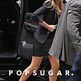 Jennifer Aniston wore a black leather skirt and blazer in NYC.