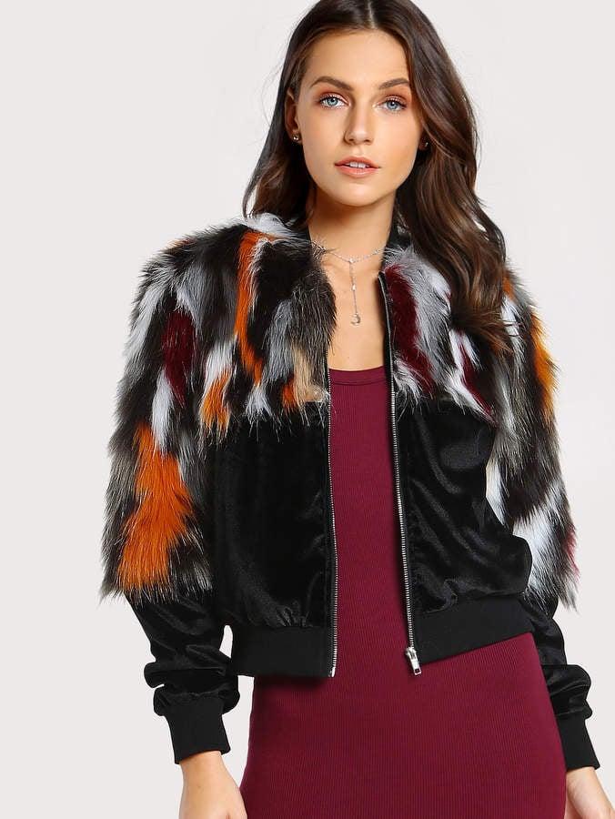 Shein Colorful Faux Fur Coat