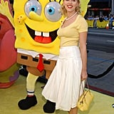 Scarlett posed with Spongebob Squarepants at the premiere of The Spongebob Squarepants Movie in 2004.