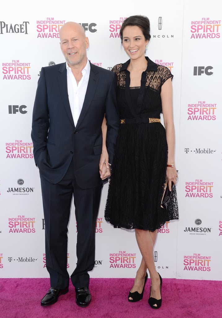 Bruce Willis and Emma Heming on the red carpet at the Spirit Awards 2013.
