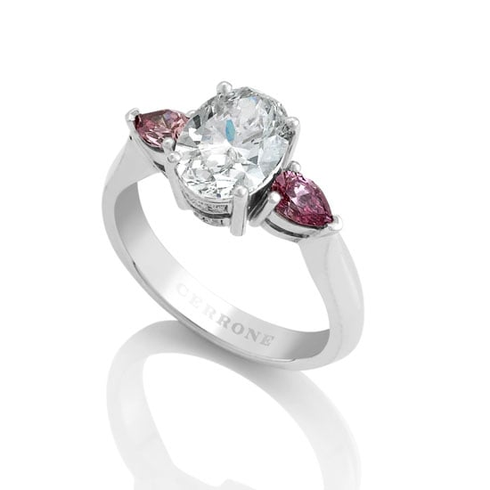 18 carat white gold oval and pink pear shape diamond ring, $99,950, Cerrone, stockists: (02) 9569 8922