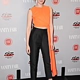 Jena Malone showed off a Hunger Games-like fiery shade of orange.