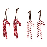 8ct Toymaker Wood Candy Canes Christmas Ornament Set