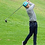 Zac Efron followed through on his back swing.