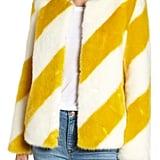 Sam Edelman Collarless Chubby Faux Fur Jacket