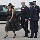 Melania Trump Arrived in Palm Beach, FL in a Dress With Printed Bows