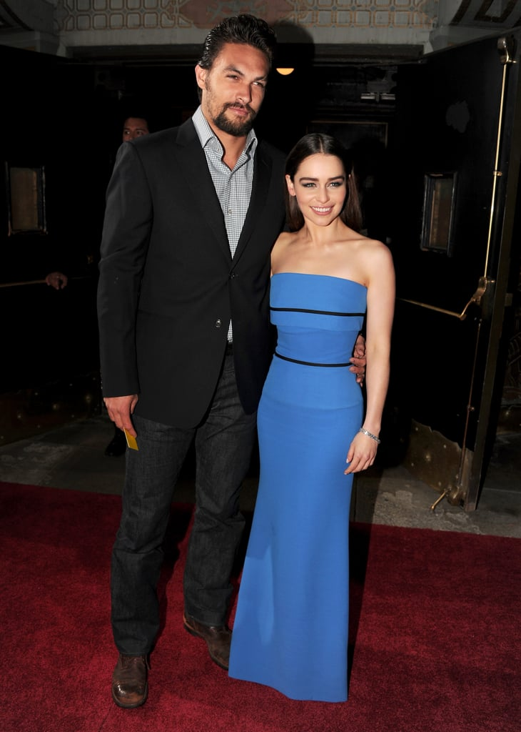 Emilia Clarke posed with Jason Momoa.