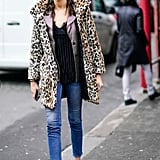 Style Your Leopard-Print Coat With: A Blazer, Camisole, Jeans, and Sneakers