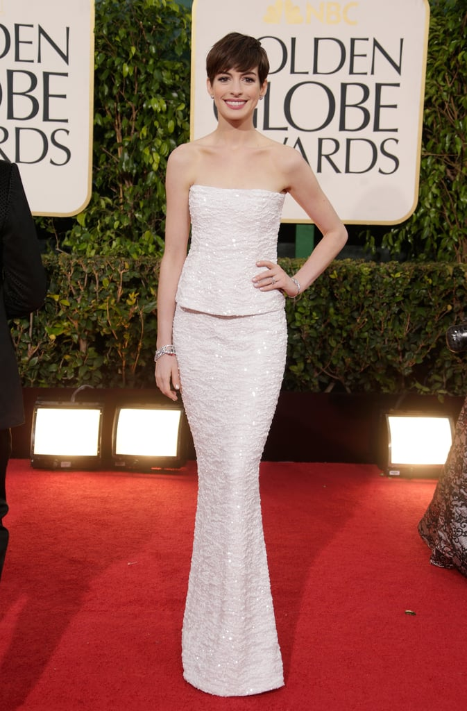 Anne looked absolutely angelic in a beaded gown from Chanel's 2009 Spring/Summer Haute Couture collection on the 2013 Golden Globes red carpet.