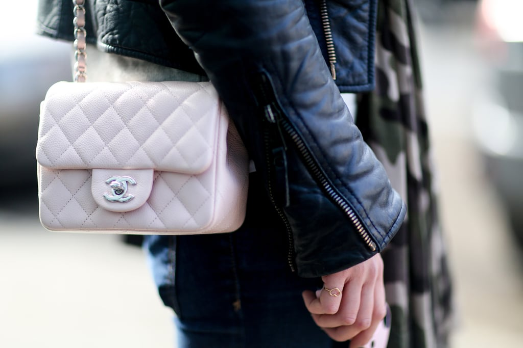 The prettiest counterpoint to a leather jacket is a petal-pink Chanel bag, don't you agree?