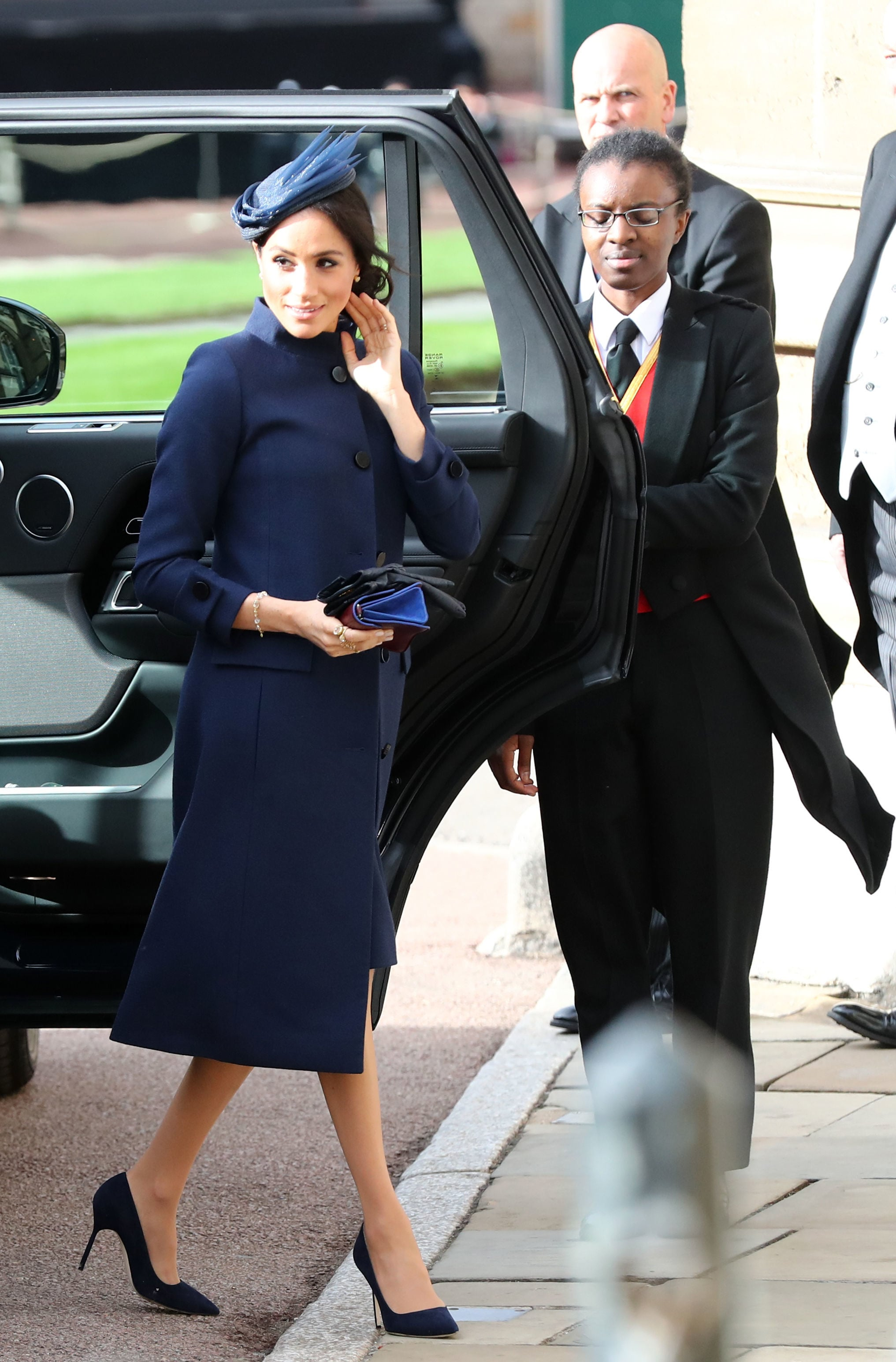 WINDSOR, ENGLAND - OCTOBER 12: Meghan, Duchess of Sussex arrives ahead of the wedding of Princess Eugenie of York to Jack Brooksbank at Windsor Castle on October 12, 2018 in Windsor, England. (Photo by Gareth Fuller - WPA Pool/Getty Images)