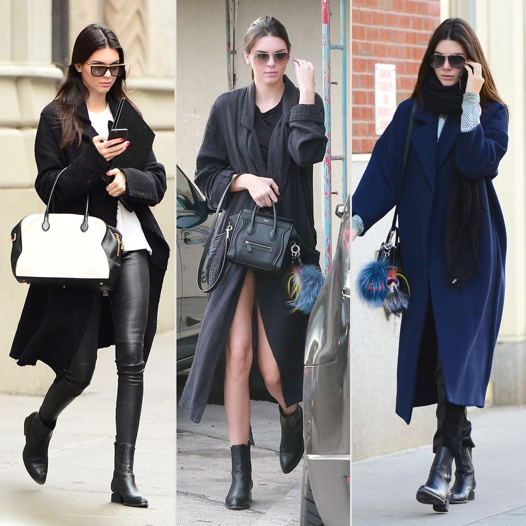 Kendall Jenner Wearing a Long Coat Street Style