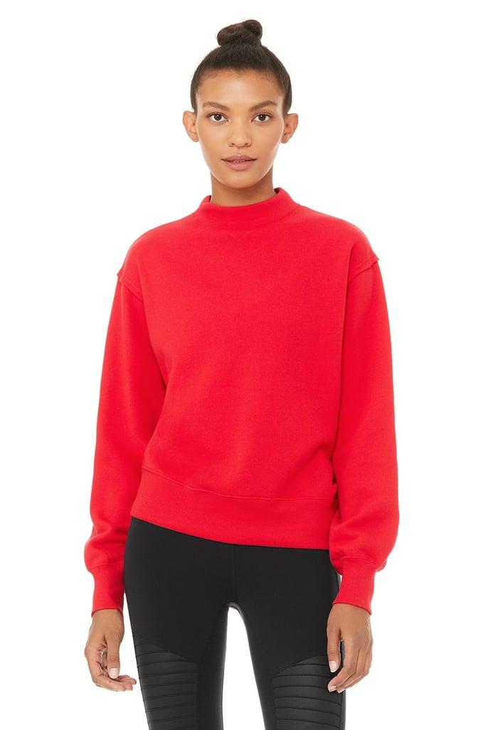 Alo Yoga Freestyle Sweatshirt & Duality Reversible Sherpa Jacket in Scarlet