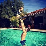 The cute father-daughter pair played in the pool during a trip to Palm Springs in February 2015.