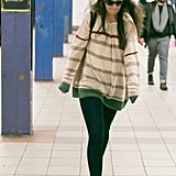 Katie Holmes made her way through the subway.