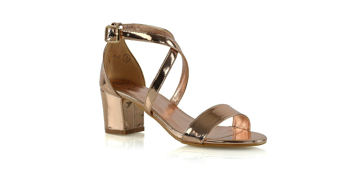 d10eba71660 Essex Glam Womens Low Heels Strappy Block Heel Ankle Strap Evening Sandals