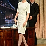 Anne Hathaway wowed in Winter white Cushnie et Ochs and a pop of red on her heels for a visit with Jimmy Fallon.