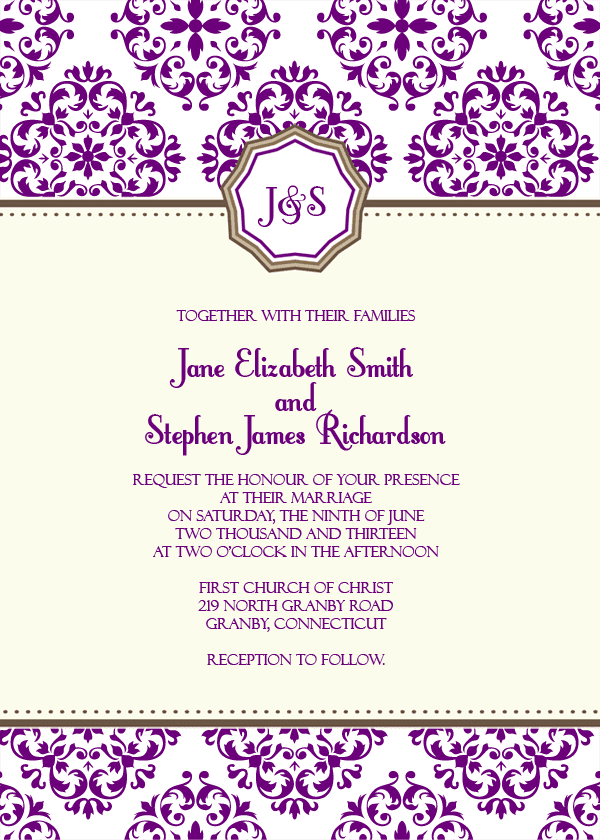 european pattern monogram wedding invitation