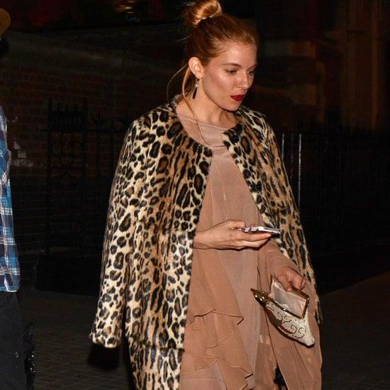 Sienna Miller in Leopard Topshop Coat