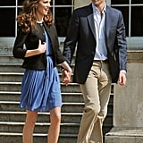"For the official ""going away"" picture after her wedding, Kate chose a blue Zara dress for $74. The thrifty duchess wore it again for a church service celebrating Prince Philip's 90th birthday and for a trip to Nottingham with the queen."