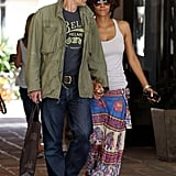 Olivier Martinez led the way as he and Halle Berry walked together.