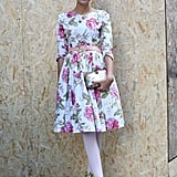 Her florals got a high-wattage update with lime-green lace-up booties.
