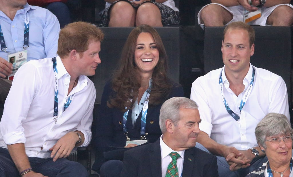 Both Will and Kate cracked smiles when Prince Harry chatted with them during the July 2014 Commonwealth games in Glasgow, Scotland.