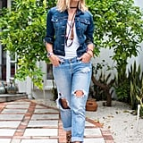 With Distressed Boyfriend Jeans, a Dark Jean Jacket, and Leopard-Print Booties