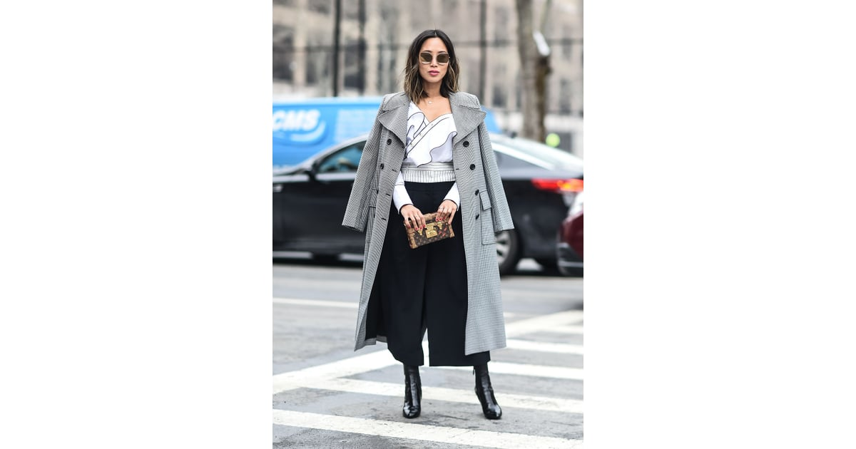 a ruffled top black culottes a classic coat and ankle boots fall outfit ideas popsugar. Black Bedroom Furniture Sets. Home Design Ideas