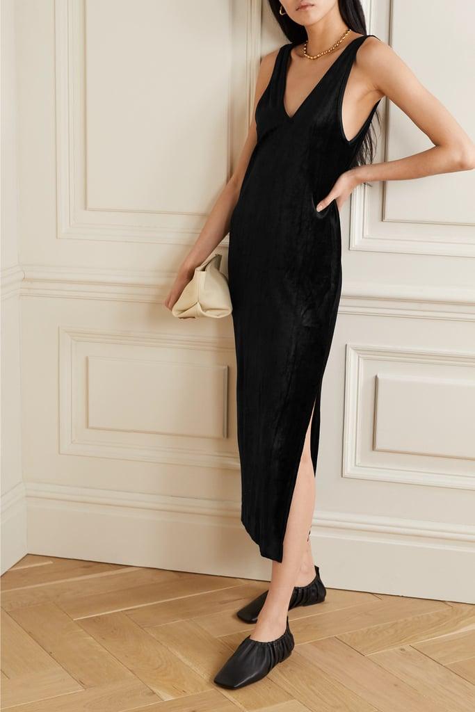 Ninety Percent Micro Modal Blend Velour Midi Dress