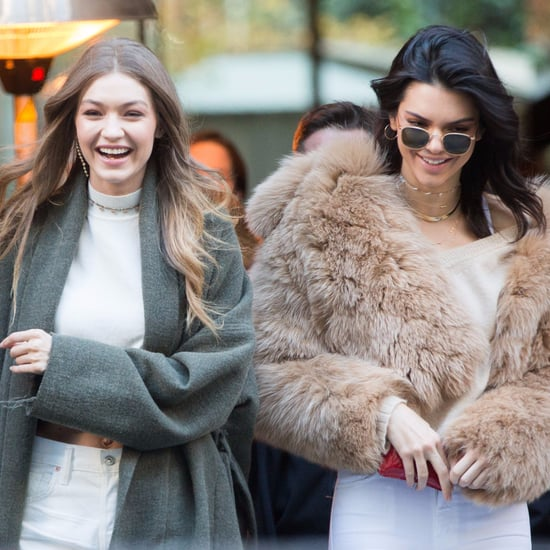 Kendall Jenner and Gigi Hadid White Jeans in Paris Nov. 2016
