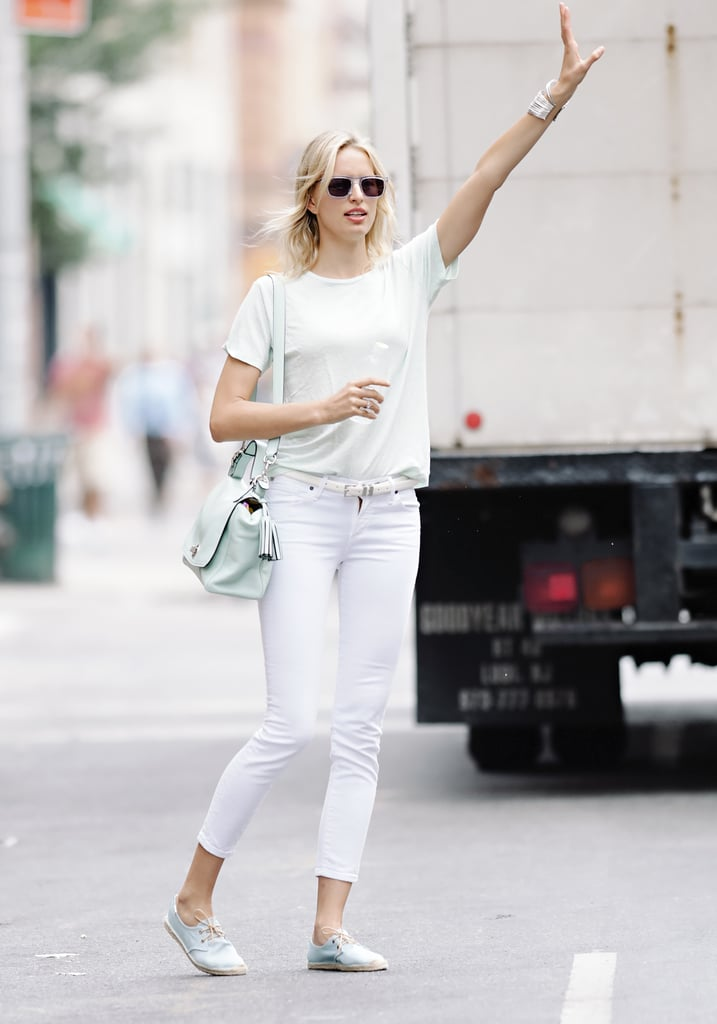 Karolina Kurkova's monochromatic ensemble was part sporty, part chic.