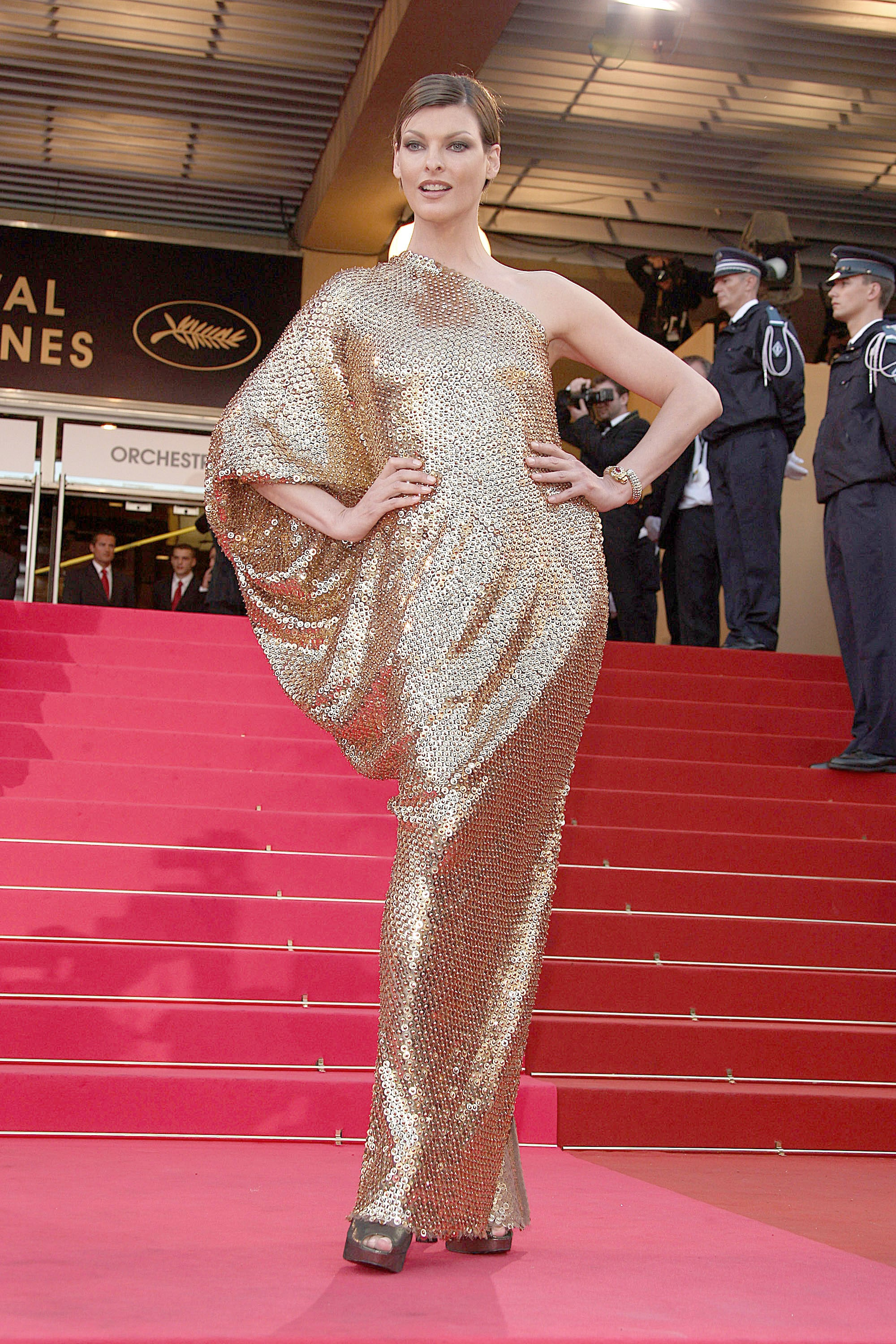 Linda Evangelista shimmered in gold Lanvin at the 2008 festival premiere of Indiana Jones and the Kingdom of the Crystal Skull.