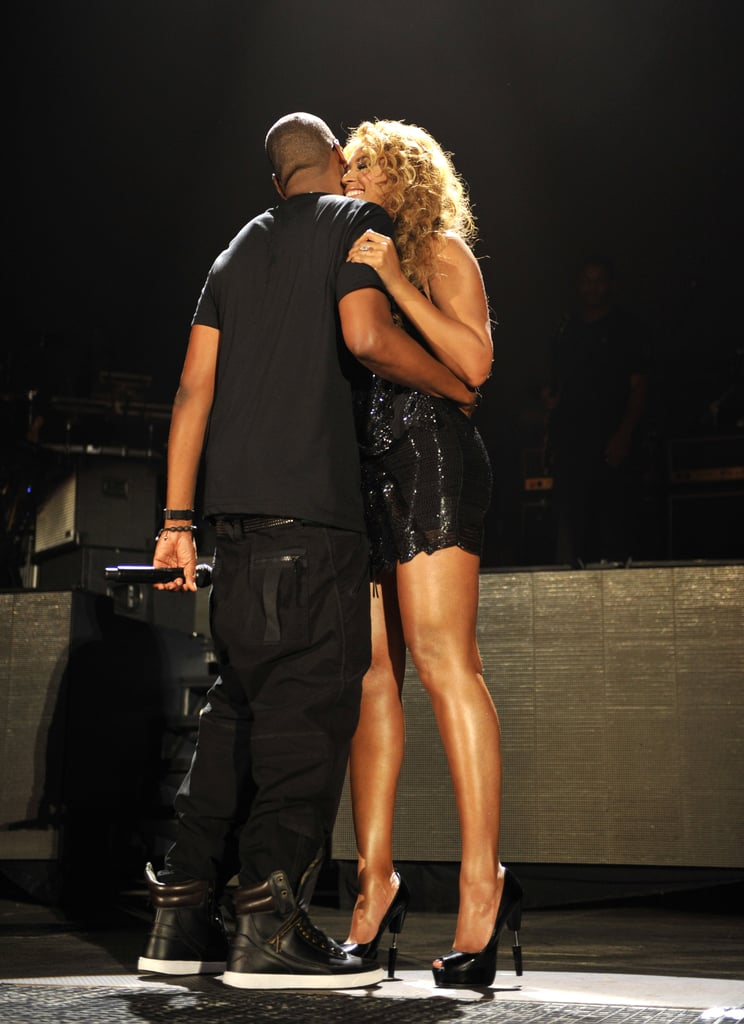 Jay-Z grabbed Beyoncé for a hug at Yankee Stadium after she performed in September 2010.