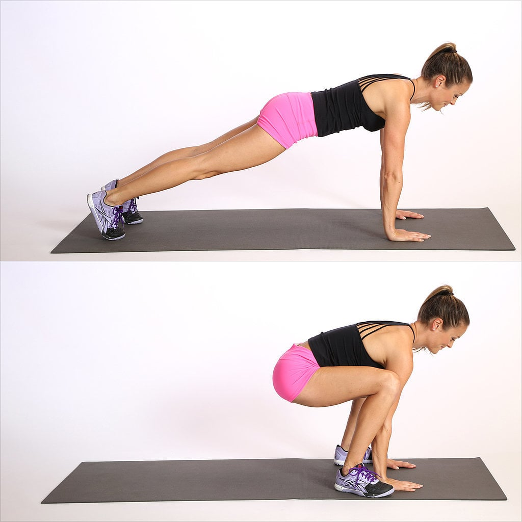 Frogger: This plank-to-squat move seems simple, but you'll feel it as you do your 30-second bursts. Begin in a plank position. Jump your feet to the outside of your hands, coming into a deep squat and keeping your hands on the floor, then jump back to plank. Repeat in a quick succession (above). Running up stairs. Run up and down the stairs at home or at your office — you'll get the added bonus of a toned backside. Walking lunges. These lunges help you develop balance while strengthening your core and lower body. Do these briskly, but make sure your form stays correct to prevent knee or ankle strain. Here's how to do a perfect walking lunge. High knees: Run in place while engaging your core and pumping your arms. The goal should be to keep your knees high and maintain an upright posture as you do your speed bursts.