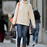 Katie Holmes wore jeans and a cream knit for an outing in NYC.