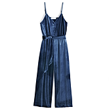 Velvet Wide-Leg Jumpsuit in Blueprint