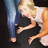 Julianne Hough got excited to see her friend wearing a pair of booties from her Sole Society collection. Source: Twitter user juliannehough