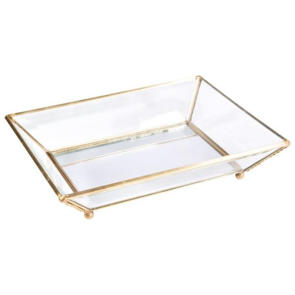 Home Details Vintage Gold Mirrored Bottom Glass Keepsake Tray