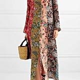 Anjuna Augustina Crochet Trimmed Printed Silk Crepe De Chine Robe