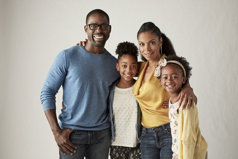 THIS IS US -- Season: 2 --  Pictured: (l-r) Sterling  K Brown as Randall, Eris Baker as Tess, Susan Kelechi Watson as Beth, Faithe Herman as Annie -- (Photo by: Maarten de Boer/NBC)
