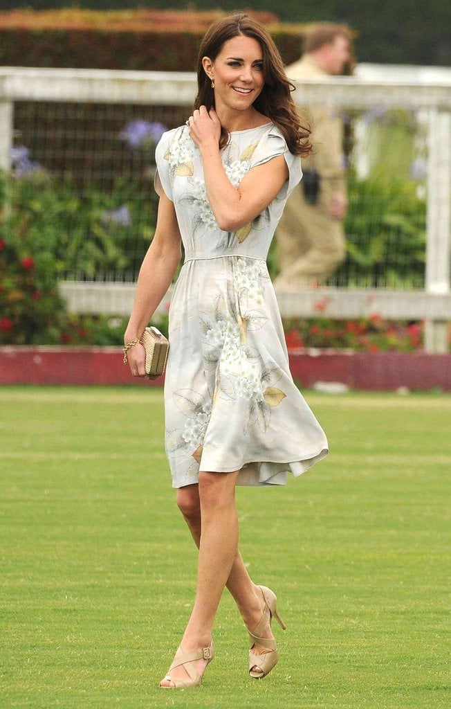She wore a Jenny Packham floral dress, along with strappy LK Bennett sandals and an LK Bennett purse, for a Santa Barbara polo match.