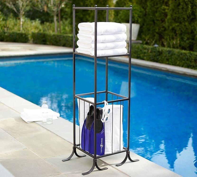 Bronze Pool Storage Towel/Shelf Hamper