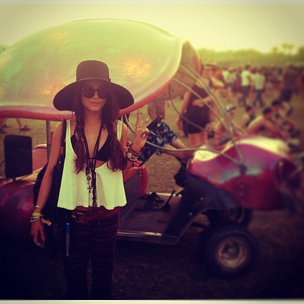 Vanessa Hudgens enjoyed the Coachella sunset in a chic bohemian outfit. Source: Instagram user vanessahudgens