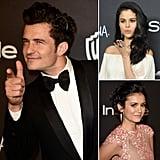 Orlando Bloom, Selena Gomez, and Nina Dobrev at the Golden Globes