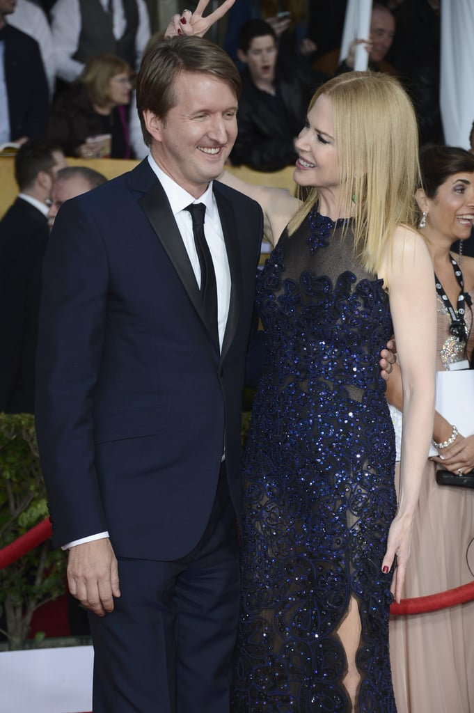 Tom Hooper and Nicole Kidman laughed it up on the red carpet at the SAG Awards on January 28.
