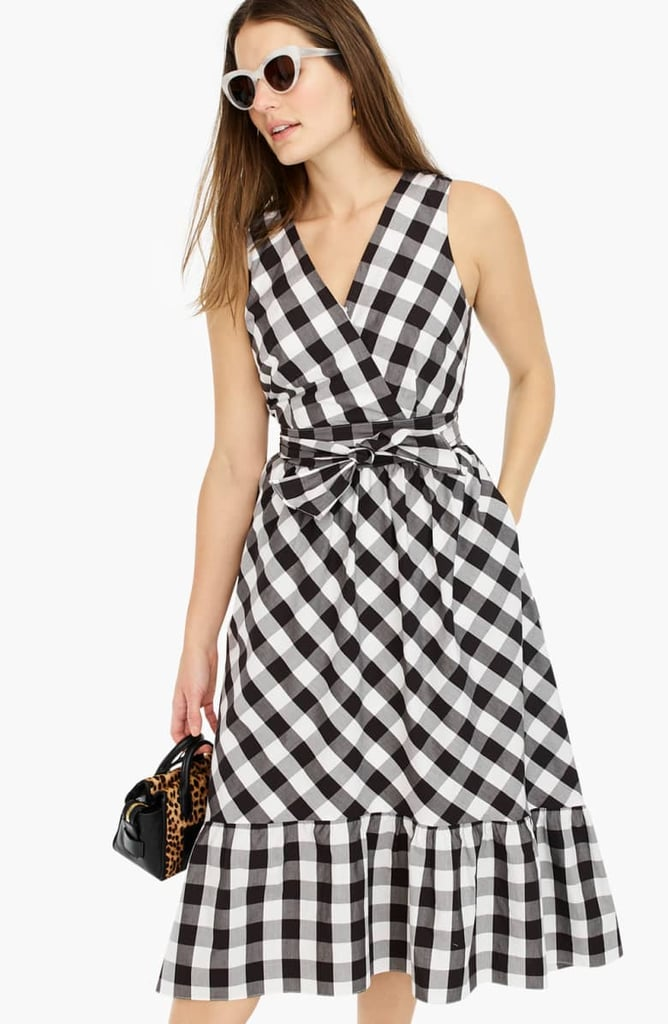 J.Crew Faux Wrap Gingham Cotton Poplin Dress