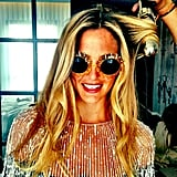 Bar Refaeli showed her Summer spirit in a pair of over-the-top sunglasses. Source: Instagram user barrefaeli